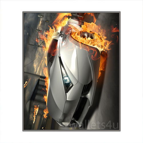 Magic Wallet, Racing Car on Fire, Gray - MWCMP0115