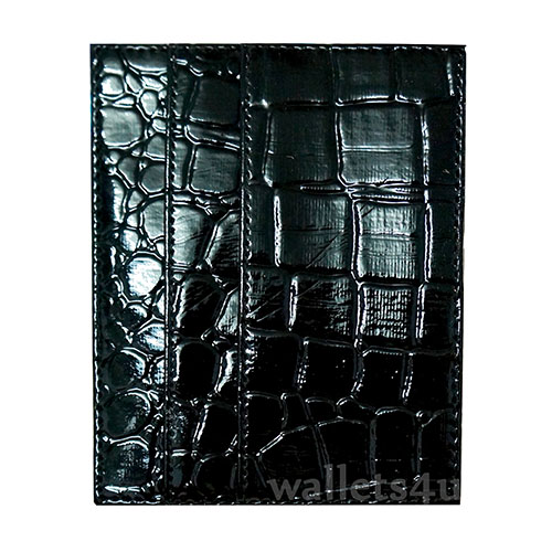Magic Wallet, crocodile shiny black leather, multi card - MC0260