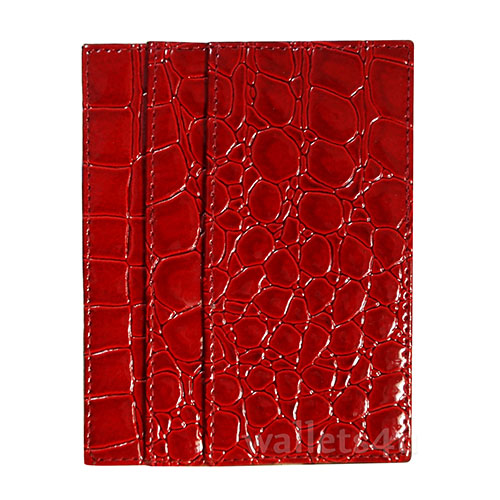 Magic Wallet, crocodile shiny red leather, multi card - MC0261