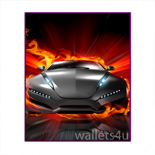 Magic Wallet, Racing Car with Fire, Gray - MWCMP0116
