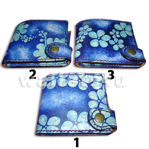 Leather Wallet, blue, LW 0001