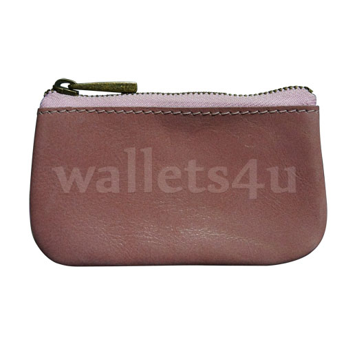 Leather Wallets, Zip Coin Pouch, Pink - LCP 0014