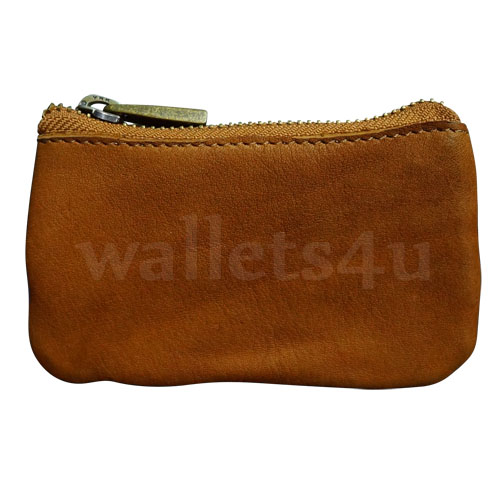 Leather Wallets, Zip Coin Pouch, Brown - LCP 0012