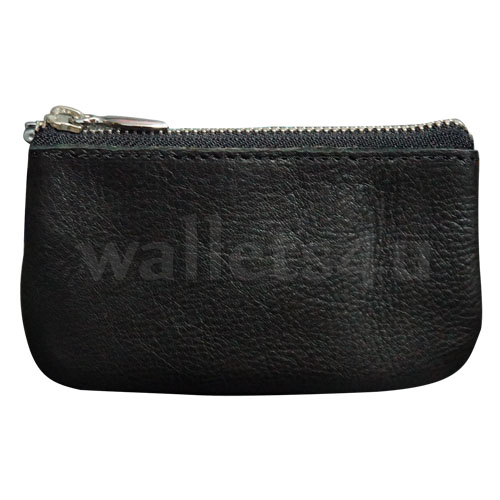 Leather Wallets, Zip Coin Pouch, Black - LCP 0010