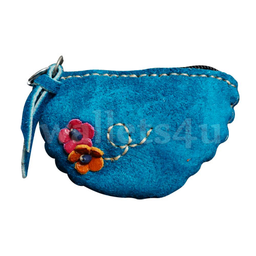 Leather Wallets, Zip Coin Pouch, Blue - LCP 0011