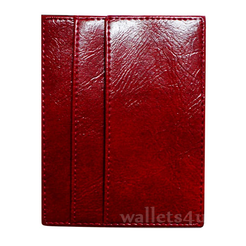 Magic Wallet, shiny red leather, multi card - MC0283