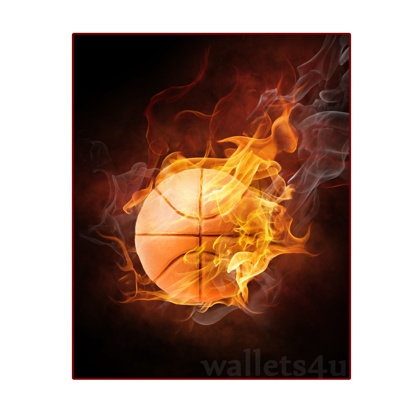 Magic Wallet, Baseketball Ball on fire - MWSPP 0173